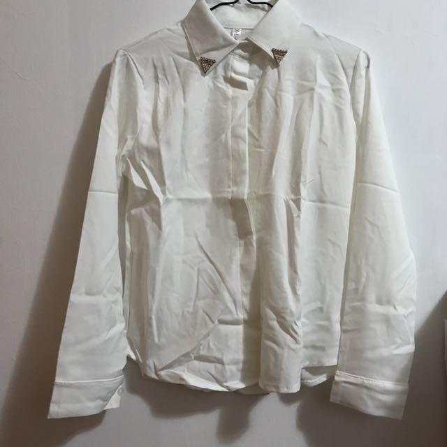 全新 白色水鑽薄款長袖襯衫