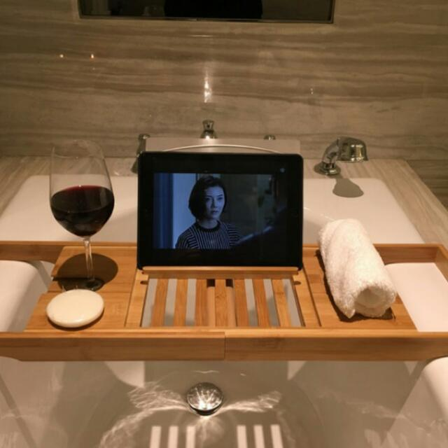 《保證旋轉最便宜》浴室泡澡 多功能高級木架(升級版)