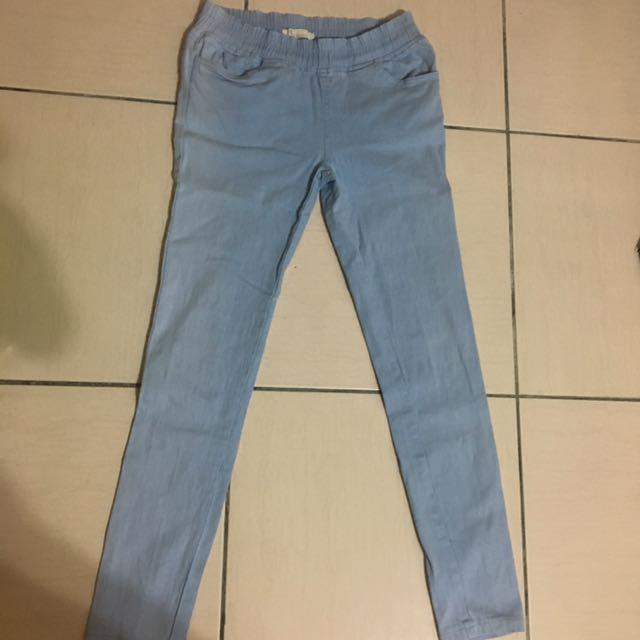 淺藍 長褲 糖果褲 素色