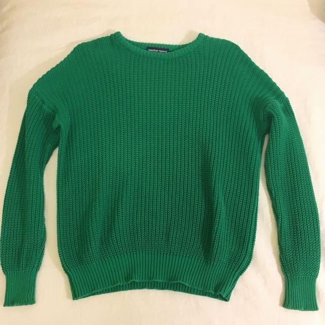 American Apparel Fisherman's Knit Jumper Green Size M/L