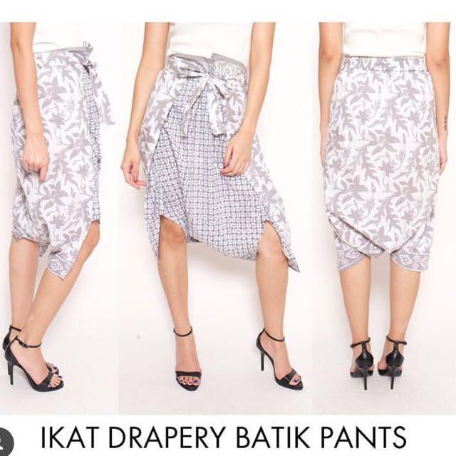 Batik Front Tie Ribbon Pants Drapery