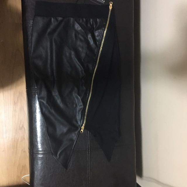 Black Half Leather Skirt - Stitches