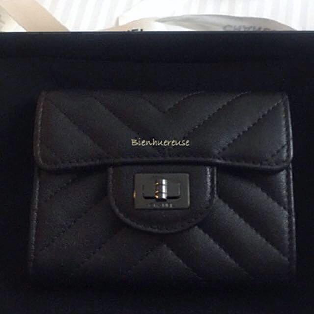 6be2be003ecbb5 BNIB Chanel 2.55 So Black Chevron Cardholder, Luxury, Bags & Wallets on  Carousell