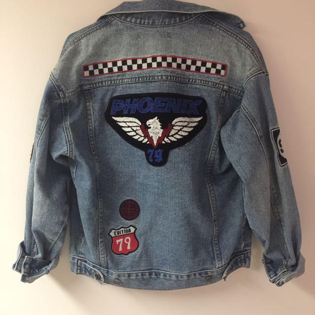 BNWT F21 Badged Oversized Denim Jacket