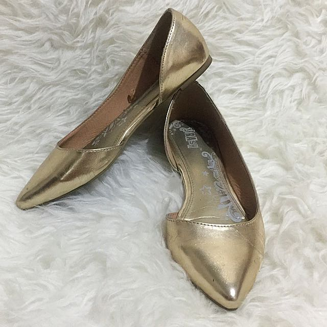 Brash Gold Flat Shoes