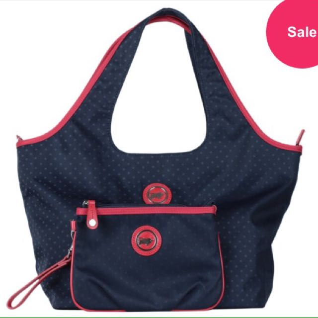 Braun Buffle Dark Blue And Red Polka Dot Comes With Clutch Shoulder Bag