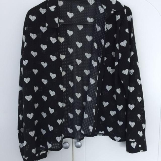 Button Up Heart Shirt