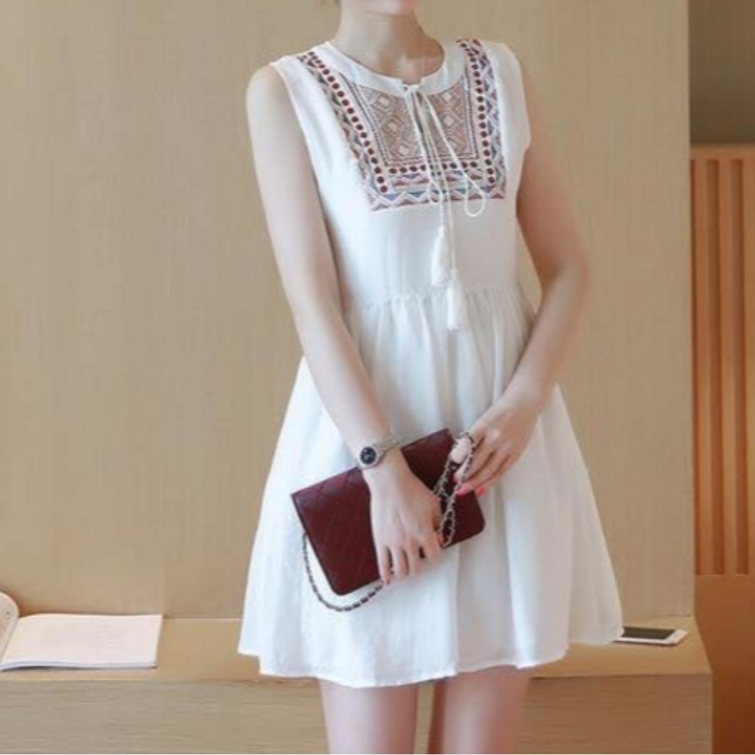 Casual Embroidered Dress