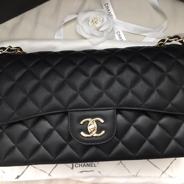 Chanel Black Caviar Jumbo Double Flap Gold Hardware Bag