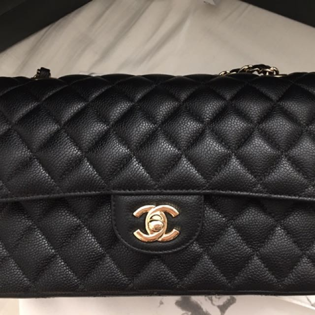 Chanel Black Caviar Medium Large Double Flap Gold Hardware Bag!