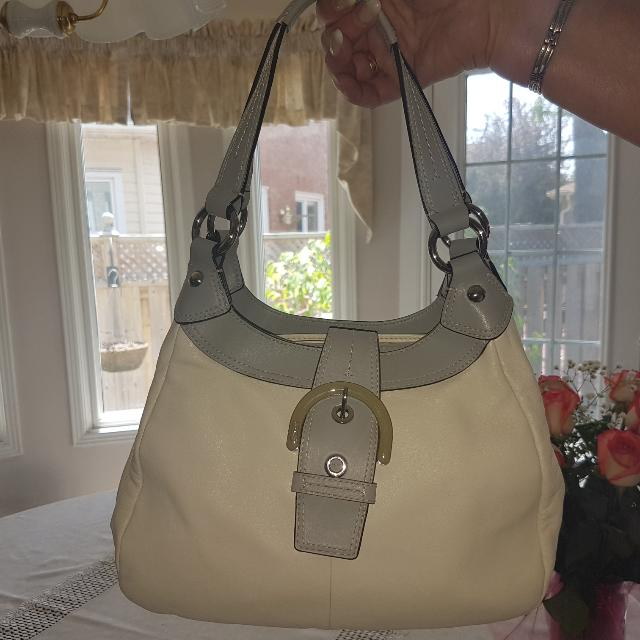 Cream And Grey Leather Coach Bag