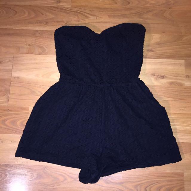 Cute Black Lace Playsuit - Romper