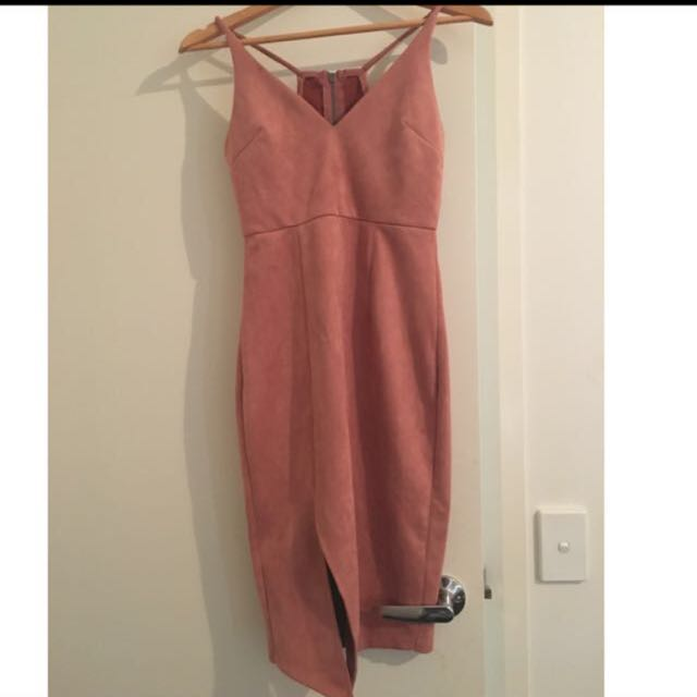 Dusty Pink Blush Suede Like Material Dress 10