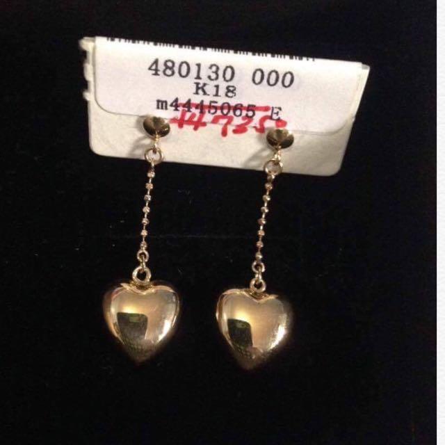 Heart dangling earrings Japan 18k Gold