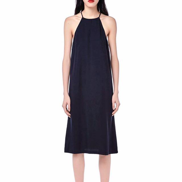 High Collar Halter Midi Dress