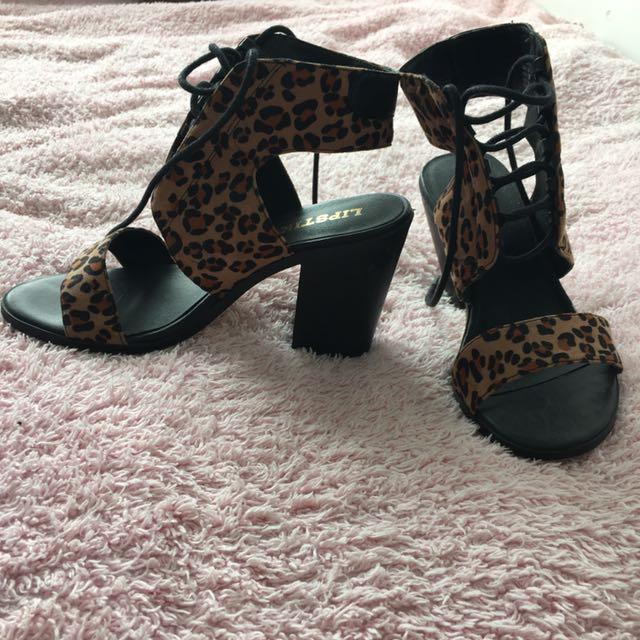 Liptik Lace Up Animal Print Heels