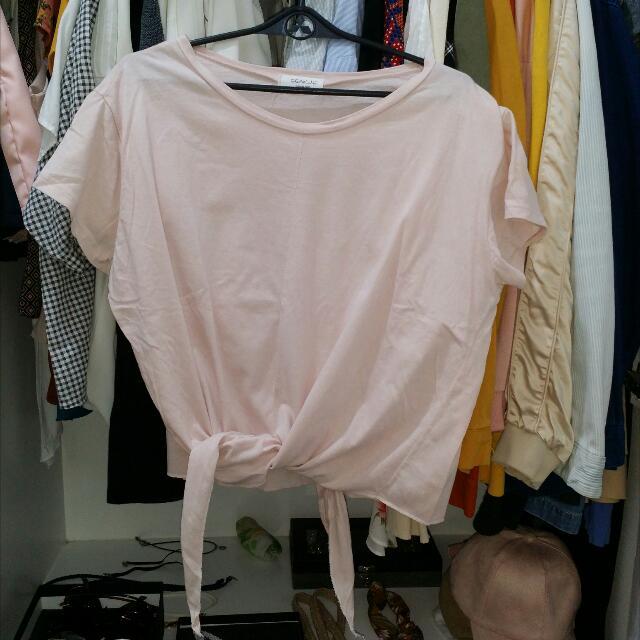 Made In Korea Blush Pink Tie Croptop