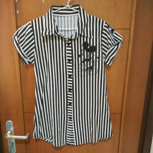mickey mouse stripped white brown shirt