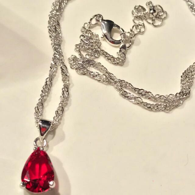 New Garnet White Gold filled pendant and Chain.