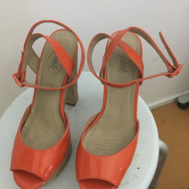 Orange Lipstik Wrap Around Heel