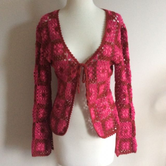 Pink Hippy Crochet Cardigan Light Jacket Festival Vintage Retro