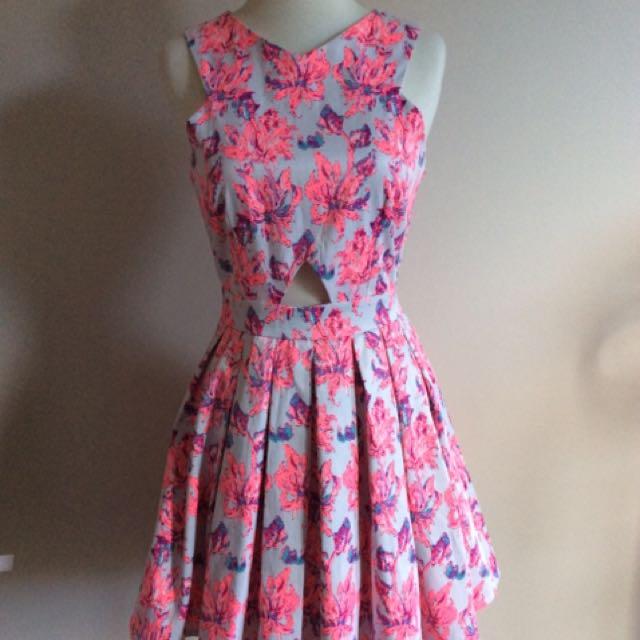 Pink Palm Tree Party Dress, Neon, Mini Skirt