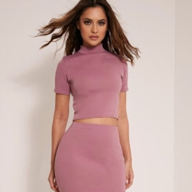 Pretty Little Thing Mauve Crop Top