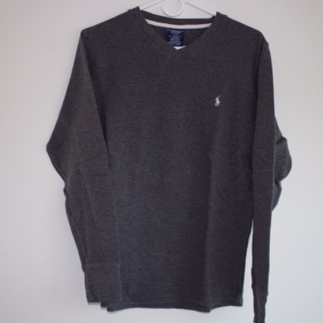 Ralph Lauren Waffle Knit V neck sweater (Grey Heather)