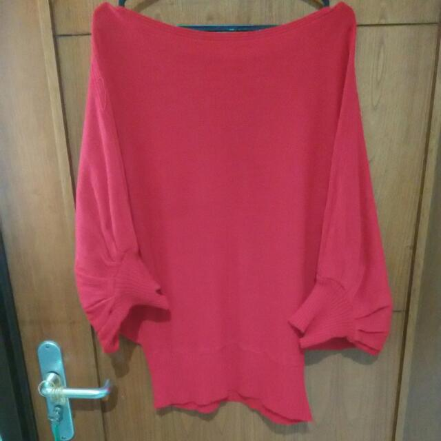 red batwing wool sweater