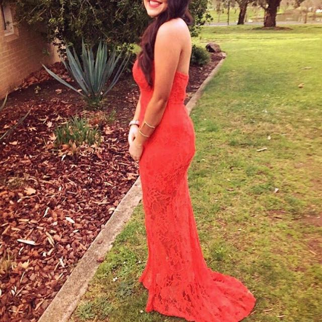 Red Lace Ball Dress Gown