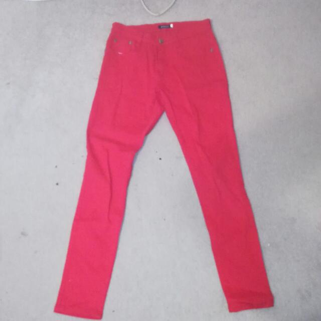 Red stretchy jeans