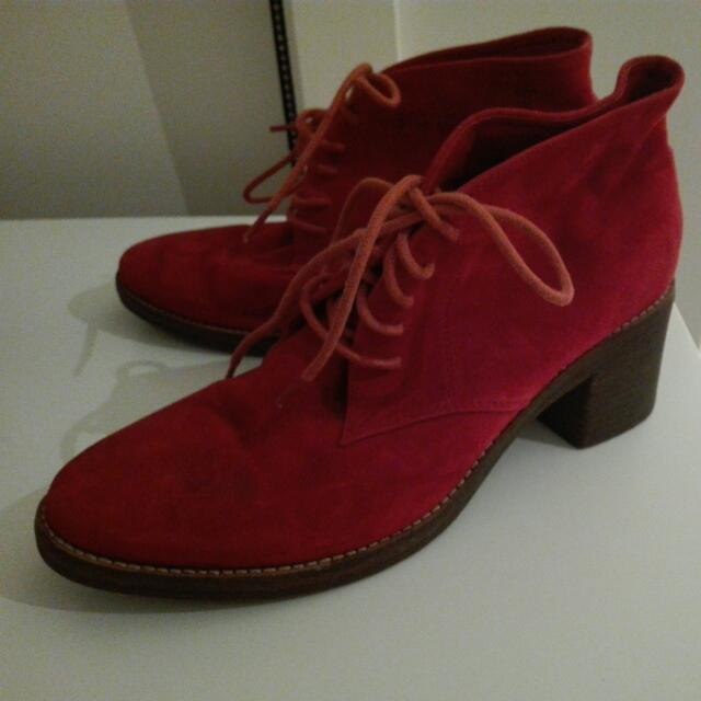 Red Suede Boots (Size 37)