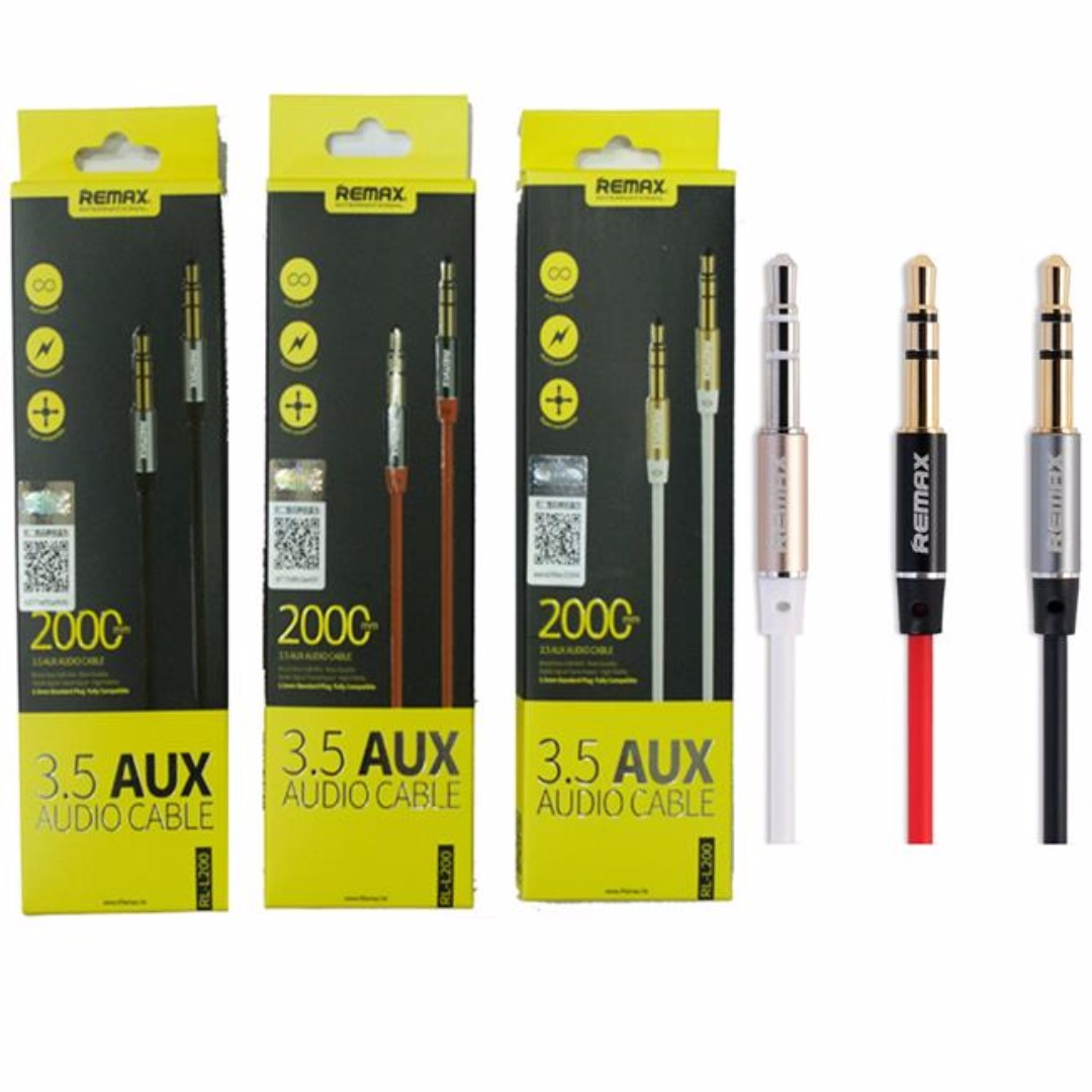 Remax Aux Audio Cable 35mm Male To 2 Meter Original Merah Rl 20s L200 2m Stereo Mobiles