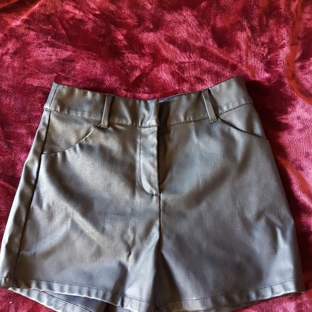 River Island High Wasted Leather Look Shorts