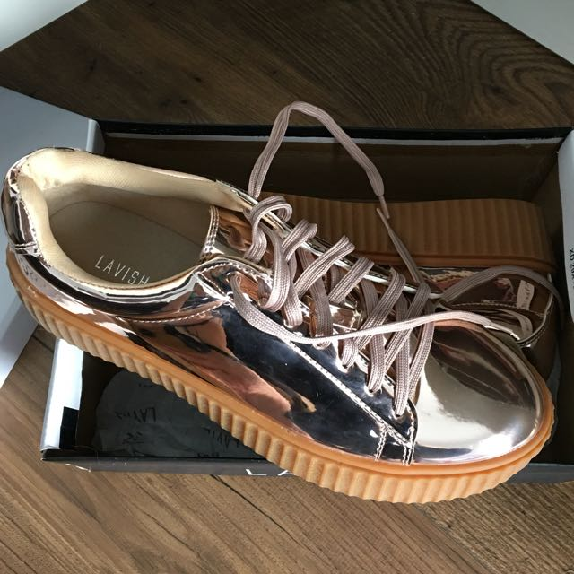 Rose Gold Metallic Creepers Size 40