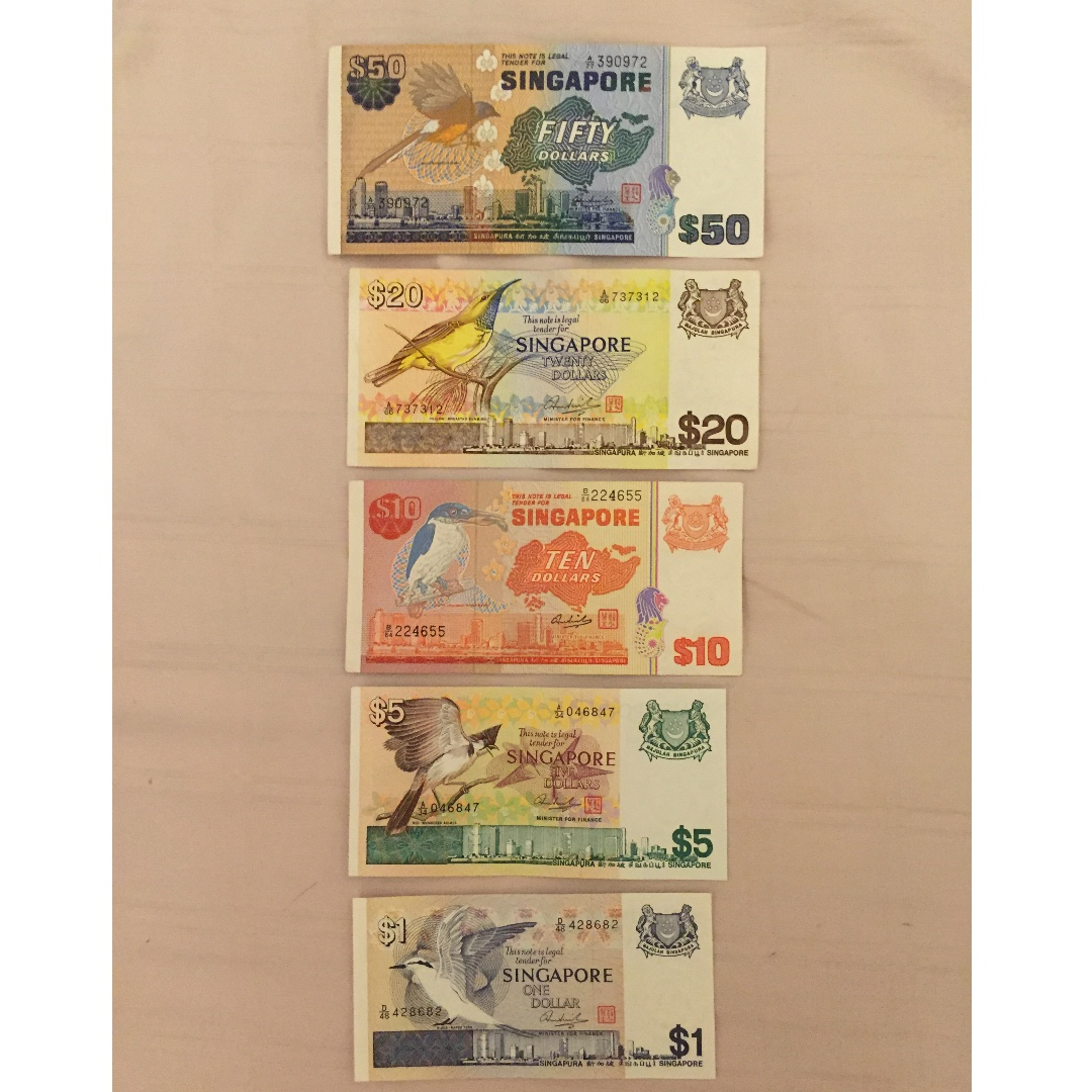 Singapore Dollar Notes Bird Series Vintage Collectibles Currency On Carou