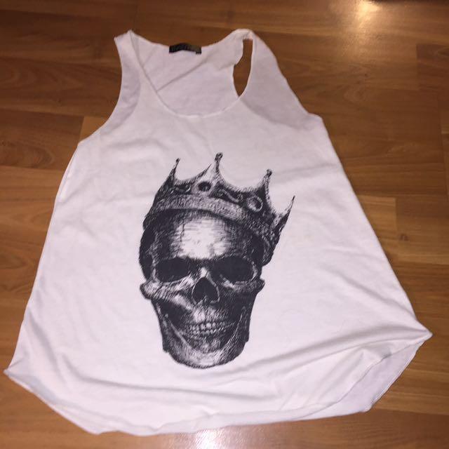 Skull White Sleeveless Top