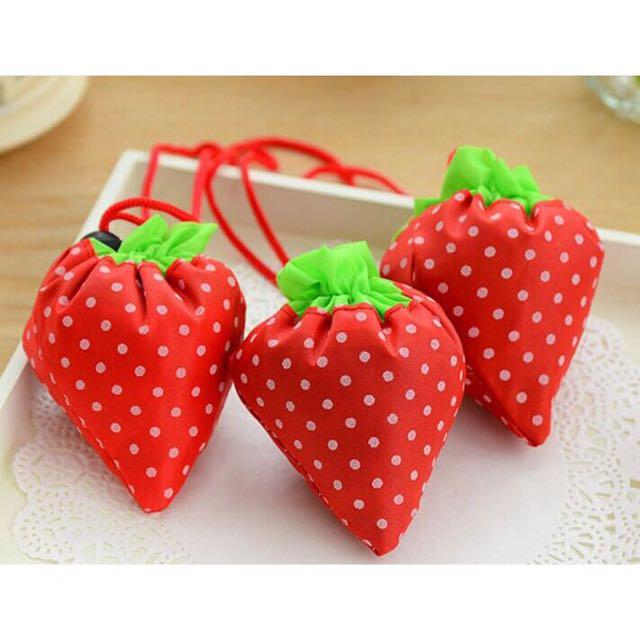 Travel Shopping Folding Bag (Strawberry & Rose)