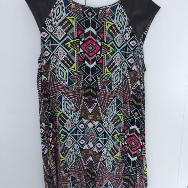 Tribal Pattern Dress W/ Faux Leather Sleeves