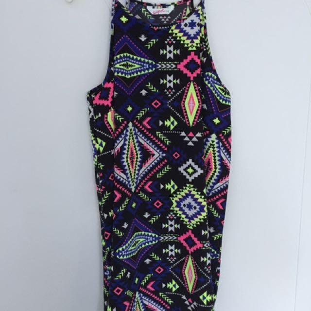 Tribal Pattern Tank Dress