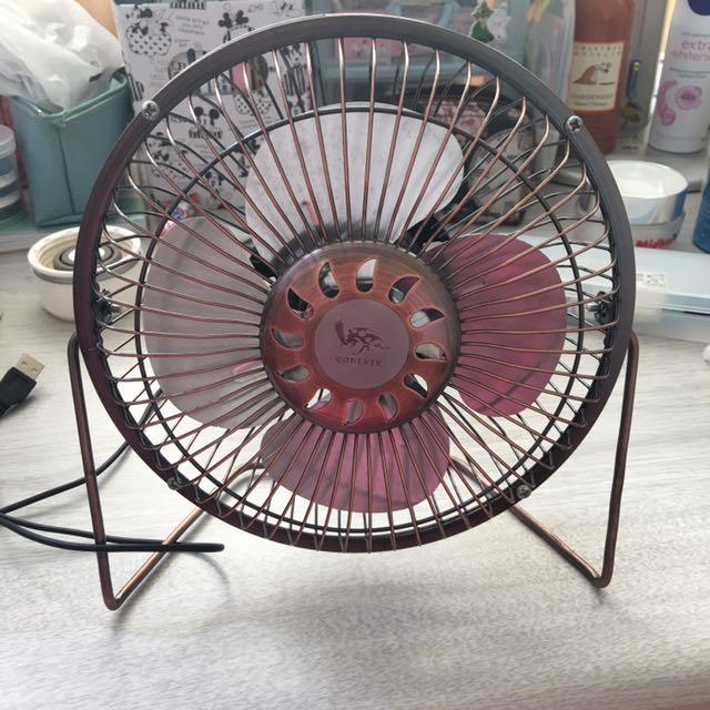Usb桌上型電風扇 電扇 風扇 免充電 免電池 古銅色 復古