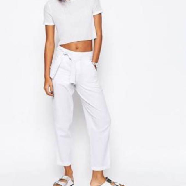 White Linen Tie Trousers