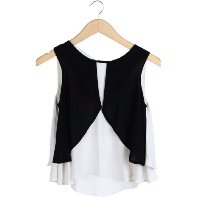 ZARA white & black sleeveless