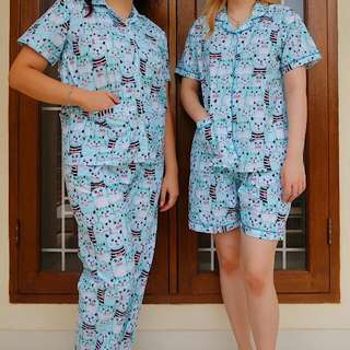 Blue Cat Pajamas - SHORT PANTS