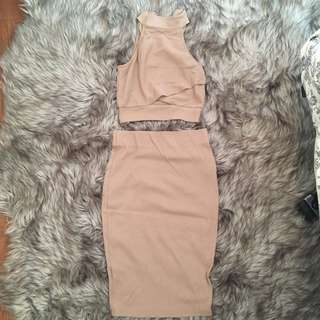 Nude Two-Piece Dress