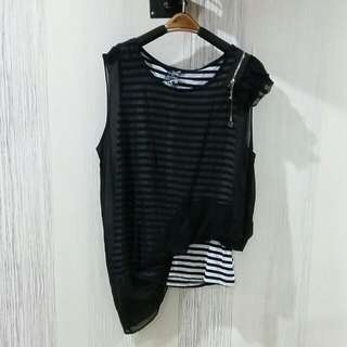 Stripe Black Top Size S-M