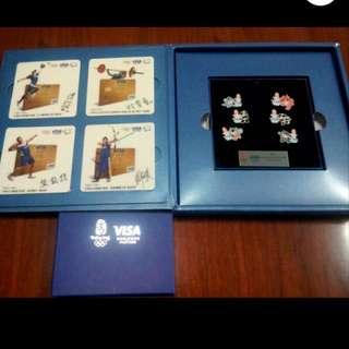 Visa 2008奧運會限量禮盒 ( 中華台北奧運代表隊選手簽名杯墊+北京奧運紀念徽章)