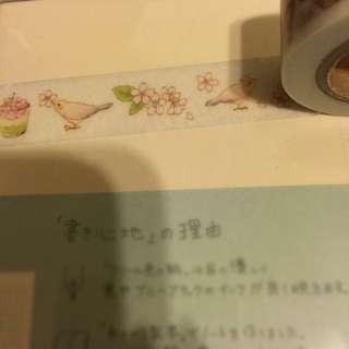 紙膠帶分裝-午茶小鳥 抹茶櫻花 一單100cm
