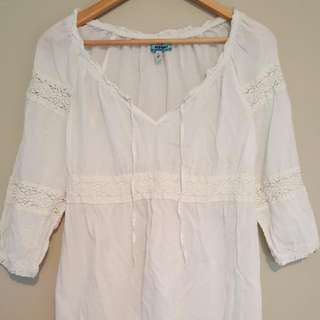 White Bohemian Blouse. (M)  Maternity