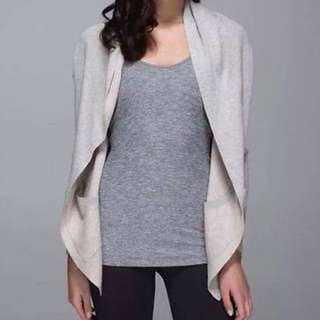 Lululemon Cabin Yogi Sweater Wrap w/ Hoodie Heather Light Gray/Parfait Pink - Reversible